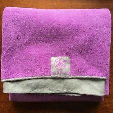 "Gaiam Yoga Mat No Slip Towel Washable Hot Yoga Purple/Gray 24"" x 68"""