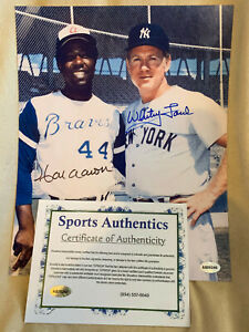 WHITEY FORD And HANK AARON AUTOGRAPHED 8x10 MLB LICENSED PHOTO WITH COA