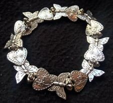 Silver Butterfly & Heart Elasticated Bracelet In Gift Bag - Stocking Filler