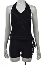 Nicole Miller Womens Top Size M Black Solid Sleeveless Halter Shirt Casual