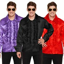 Mens 70s Saturday Night Disco Fever Frill Party Ruffle Shirt Fancy Dress Costume