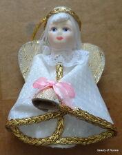 Russian fabric porcelain face  handmade  ornament christmas  angel w/bell