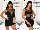 Sexy Mujer mini vestido de verano TRANSPARENTE TALLA XS S M L Xl Nuevo Negro