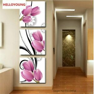 5D Diamond Painting Flower Triptych Vertical Version Cross Stitch Kits Embroider