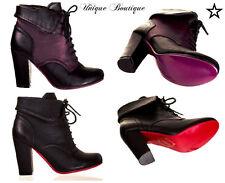 * BANNED SHOES PURPLE & BLACK / RED & BLACK LAUREN LACE HEEL BOOTS 3-8 *