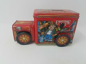 Litho Fire Engine Coin Bank Great Condition