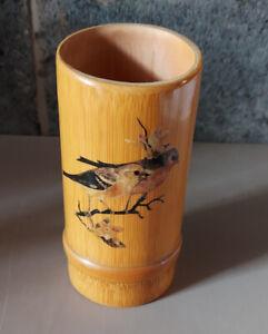 Bamboo Cane Vase - Brush Holder - Ornamental - Birds