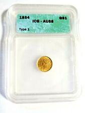 1854 TYPE 1 $1 Gold Dollar Coin ICG AU58