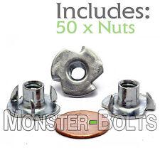 "1/4-20 x 5/16"" OAL - Qty 50 - 3 Prong Tee Nut Straight Barrel Zinc Plated T-Nut"