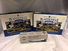 "3 PC HO Scale Plastic Ville Georgian Mansion, 1930's School & 52'6"" Mill Gondola"