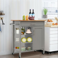 Kitchen Trolley Portable Moving Cart Storage Cabinet Natural Wood Top Grey Base