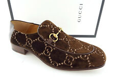 3572ca8e6f4 Gucci Size 9.5 Brown Velvet GG Horsebit Collapsible Loafers Shoes UK 8.5