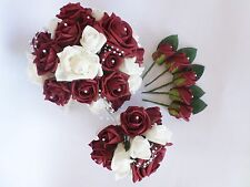 Wedding Bouquet, Posy & Buttonholes Bundle in Burgundy & White Roses with Pearls