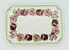 "Vintage Ceramic Rose Trinket Tray Gold Trimmed 7"" x 5"" Gorgeous Excellent Cond."