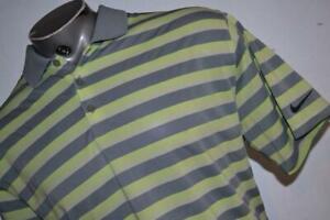 26820-a Mens Nike Golf Polo Shirt Tour Performance Size XL Gray Neon Yellow