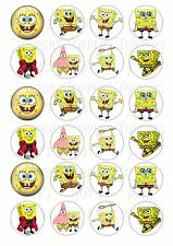 24 SPONGE BOB CUPCAKE TOPPERS ICED ICING FAIRY CAKE BUN TOPPERS