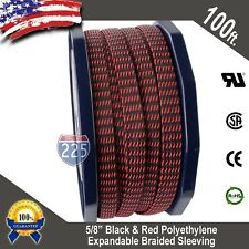 """100 FT. 5/8"""" Black Red Expandable Wire Sleeving Sheathing Braided Loom Tubing US"""