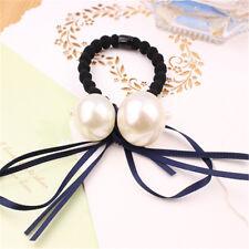 Korean Pearl Trim Modern Girls Wowen Pearl Tassel Ribbon Bow Horse Tie Hair Band
