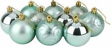 10 x 60mm Christmas Tree Baubles - Shiny, Matte & Glitter - Mint Green - BA167