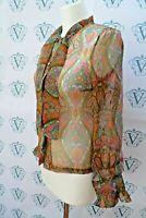 Vintage Original 1960s mod psychedelic paisley print sheer top,blouse  VVB4