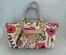 Coach Poppy Signature Petal Floral Rocker Shoulder Bag Purse Pink/Multi