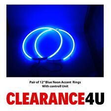"""RTO AutoLite Pair of 12"""" Car Subwoofer Sub Blue Neon Lighting Grille Rings"""