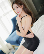 Sexy Women Mini Dress See Transparent Halter Backless Clubwear Bodycon Dress