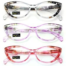 3 Pairs Lot Women Cateye Translucent Clear Floral Pattern Fashion Reading Glasse