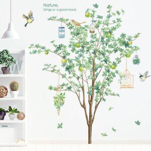 Natural Plant Wall Decals Bird Sticker DIY Mural Living Room Background Decor