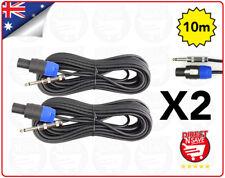 "Speakon To 6.35mm 1/4"" Male Jack Adaptor Plug. 10 Metre Lead X 2 (TWO)"
