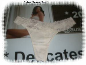 Nymyshire-Ladies-Size 8-comfortable-Hi-Cut-lace trim-G String-NWOT-Cream-)-(xzzz