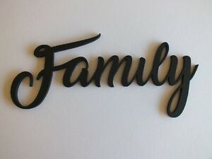 Black Wooden Modern Family Wall Sign  29 cm