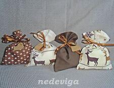 Adventskalender Stoff-Säckchen 24 Beutel braun creme Rentiere Unikat Handarbeit