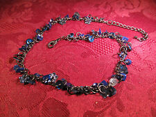 Blue Sequin Adjustable Choker Fashion Necklace