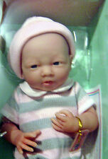 14 INCH BABY DOLL BERENGUER REAL GIRL IN PINK & GRAY KNIT OUTFIT  ALL VINYLE