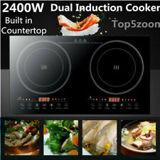 Portable Induction Cooktop Countertop 2400W Dual Cooker Burner Stove Hot Plate