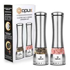 Battery Powered Salt and Pepper Grinder Set With LED Light by OPUX | Adjustable