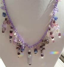 HAND MADE 20 INCH BEADED QUARTZ, FLUORITE, AMETHYST & CATS EYE CHAIN NECKLACE