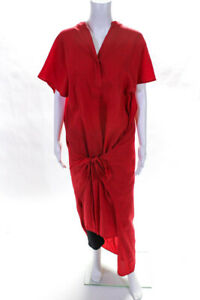 Vince  Womens Short Sleeve Maxi Dress Red Size Large