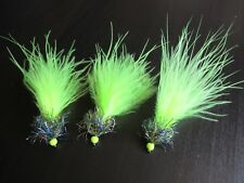 3X UV NANO CHARTREUSE DAMSELS FLY FISHING TROUT FLIES, SIZE 10