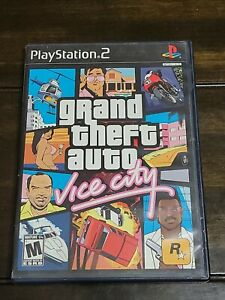 """Grand Theft Auto Vice City Sony PlayStation 2 Poster & Manual Complete """"""""TESTED"""""""