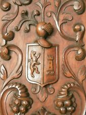 SUPERB 19thc HERALDIC MAHOGANY WOOD CARVED PANEL WITH KNIGHT & LION CREST