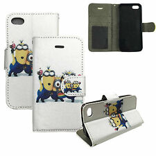Me Minions Cartoon PU Leather Book Wallet Flip Case Cover For iPhone 4 4G 4S