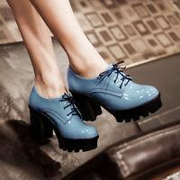 Womens Ladies Block Heels Shoes Platform Lace Up Round Toe Pumps UK Size Z637