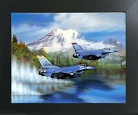 Military F-16s Over Water Painting Jet Aviation Aircraft Wall Art Framed Picture