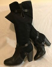 G-star Raw Black Knee High Leather&Textile Beautiful Boots Size 7 (126Q)