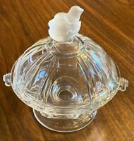 Victorian EAPG Covered Bowl Made By Riverside With Baby Chick On Top Clear Glass