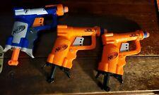 Lot of 3 NERF N-Strike Jolt Soft Dart Guns 1 Blue & 2 Orange w 3 Darts toy