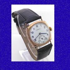 Retro & Vintage Mint 9k Gold Gents Dunhill Cushion Case Wrist Watch 1959