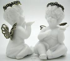 ANGELI BOMBONIERE CERAMICA PORCELLANA BISQUIT ARGENTO ANGES REGALO ANGIOLETTI